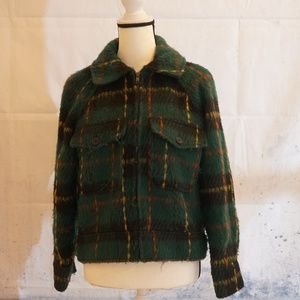 FOREVER 21 GREEN PLAID CROPPED JACKET
